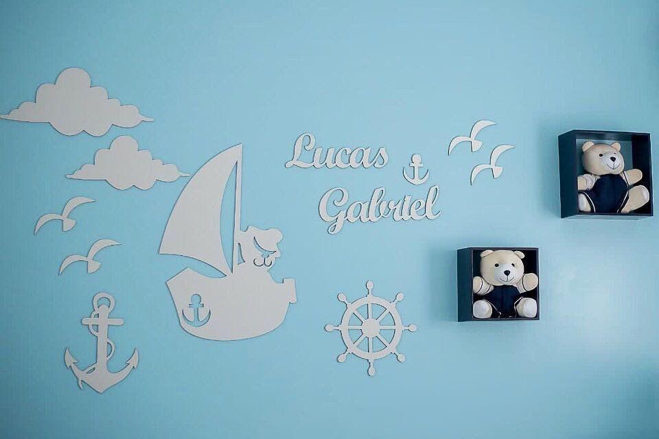 Kit Painel de Parede Completo Urso Marinheiro Personalizado