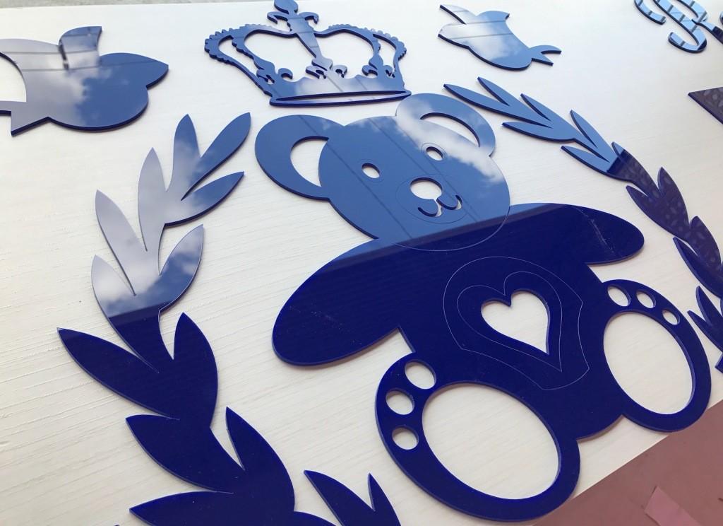 Kit Painel de Parede Urso Príncipe Coração Personalizado Acrílico