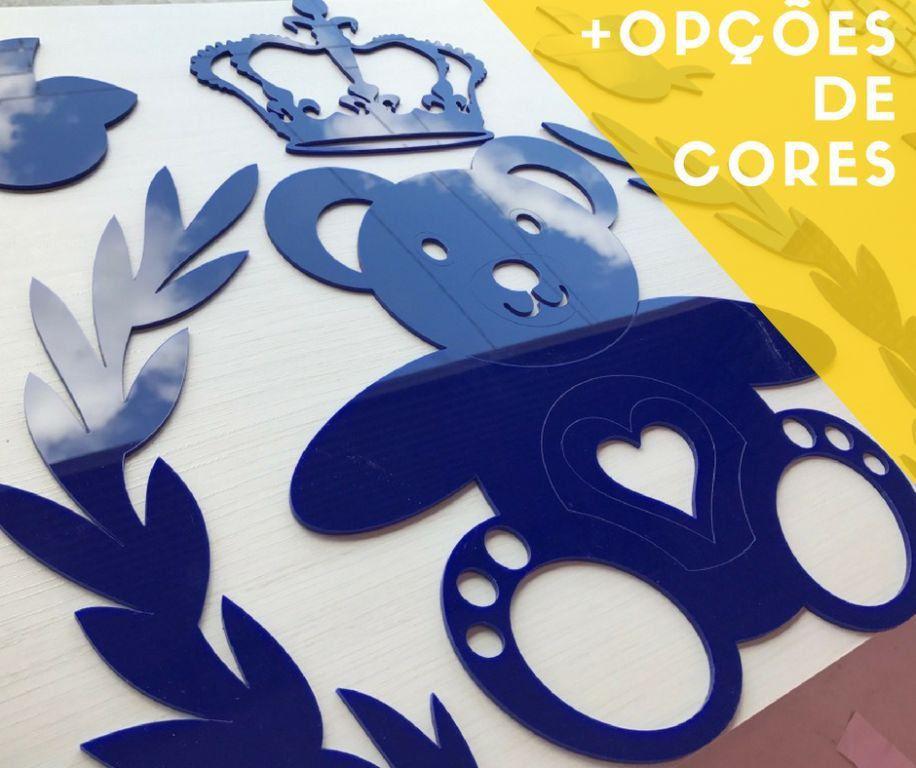 Kit Painel de Parede Acrílico Completo Urso Príncipe Coração Personalizado