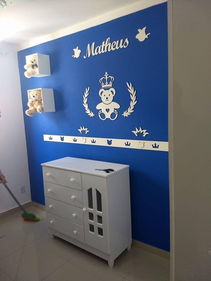 Kit Painel de Parede MDF Completo 13 peças Urso Príncipe Coração Personalizado Decoração