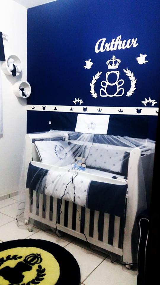 1. Kit Painel de Parede Urso Príncipe Personalizado MDF BRANCO Decoração Quarto do Bebê