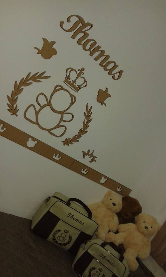 2. Kit Painel de Parede Urso Príncipe Personalizado MDF CRU
