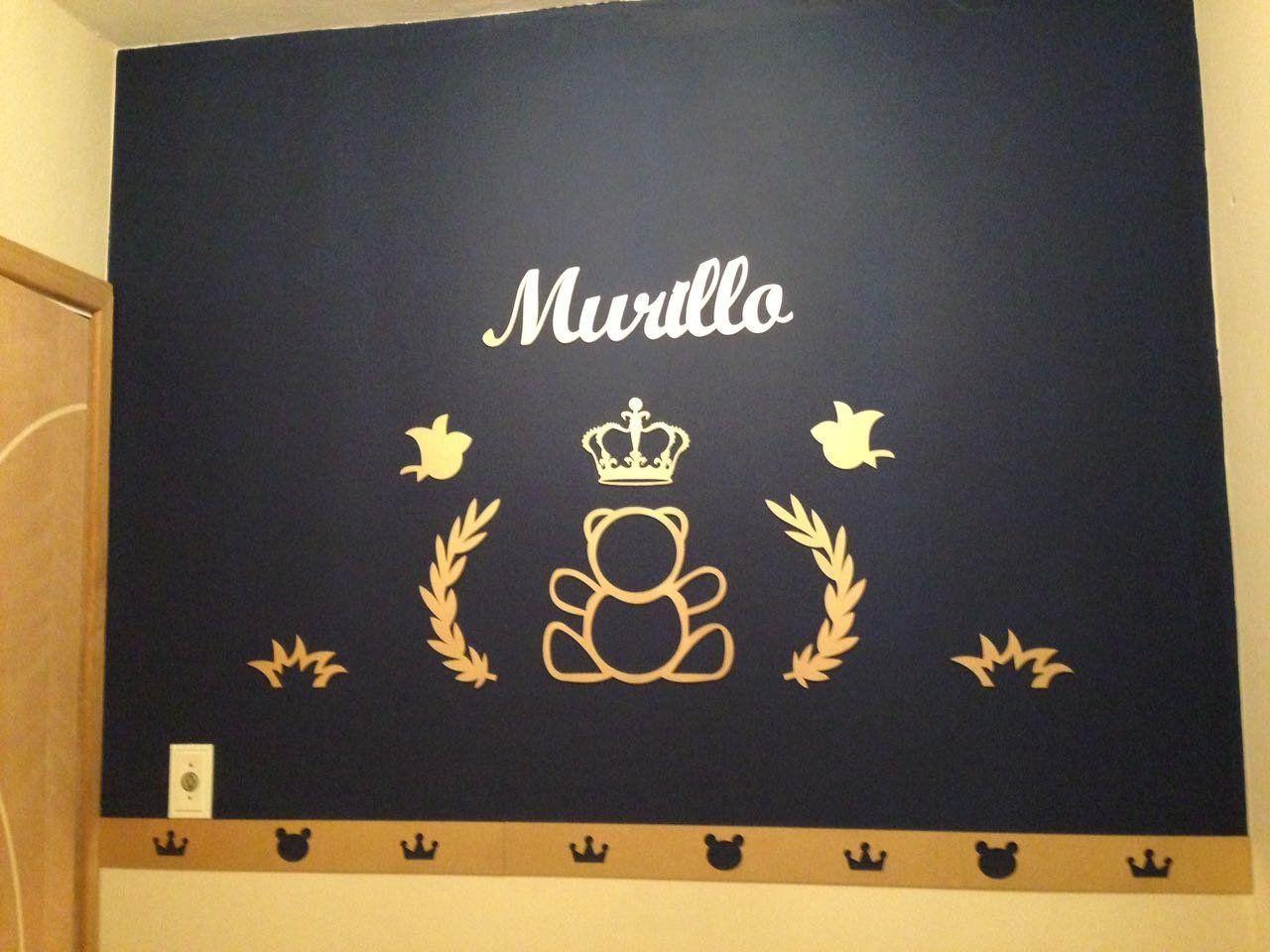 Kit Painel de Parede Completo 13 peças Urso Príncipe Personalizado MDF DOURADO