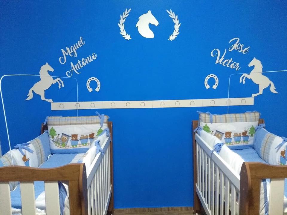 Kit para Gêmeos com Dois nomes - Painel de Parede Completo Cavalos Country Decoração Quarto do Bebê