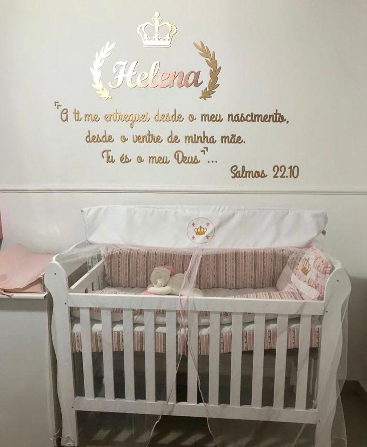 Kit Princesa Frase Salmos 22.10 Personalizada + Nome do Bebê Decoração