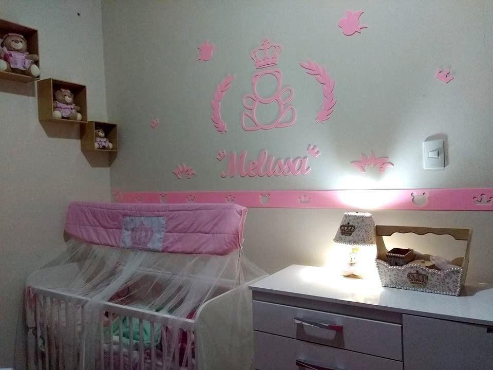 Kit Ursa Princesa ACRÍLICO Decoração Quarto do Bebê Completo 4 Faixas