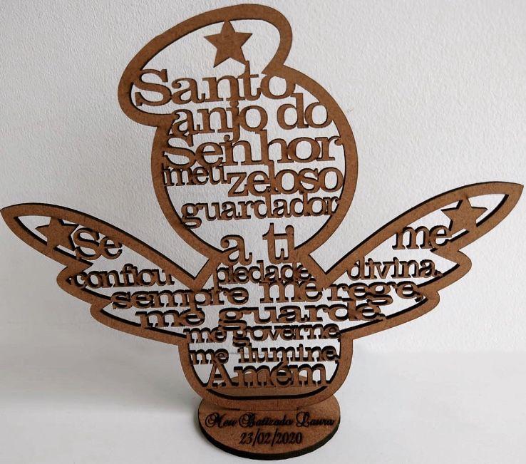Lembrancinhas de Mesa 15cm Anjinho vazado oração Santo Anjo MDF CRU