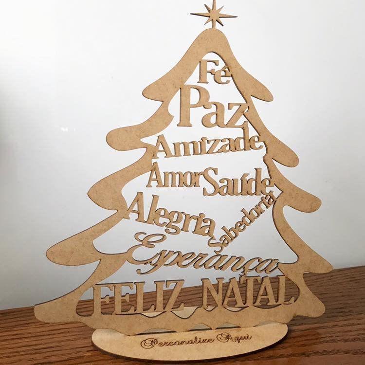 Mini árvore de Natal em MDF 15cm de altura MDF Cru Brinde Lembrança