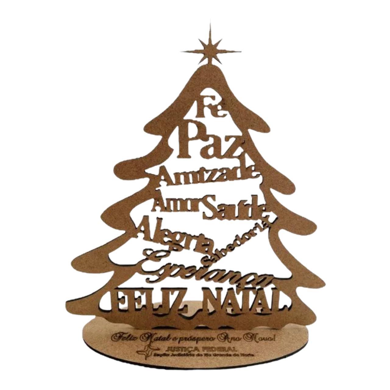 Mini árvore de Natal em MDF 15cm de altura MDF Brinde Lembrança