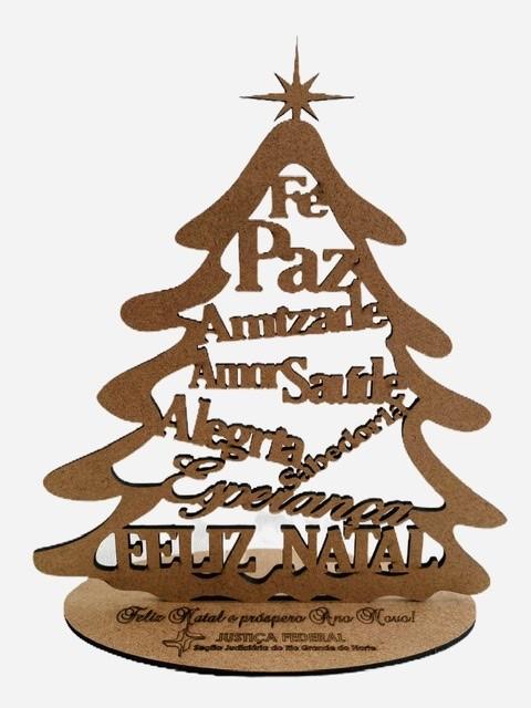 Mini árvore de Natal em MDF 20cm de altura MDF Cru Brinde Lembrança