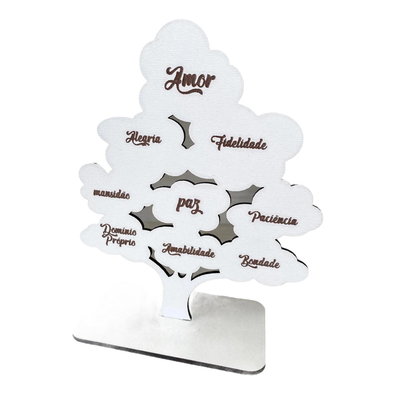 Mini árvore Fruto do Espírito em MDF 15cm de altura Brinde Lembrança