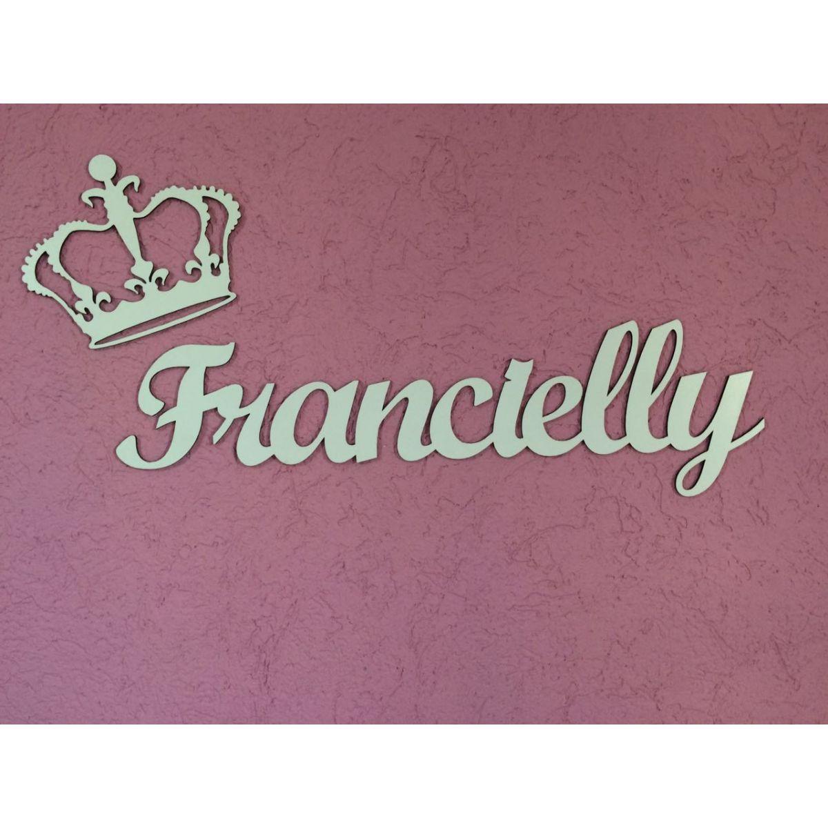Nome Personalizado (Simples) 60cm + Coroa 20cm MDF BRANCO