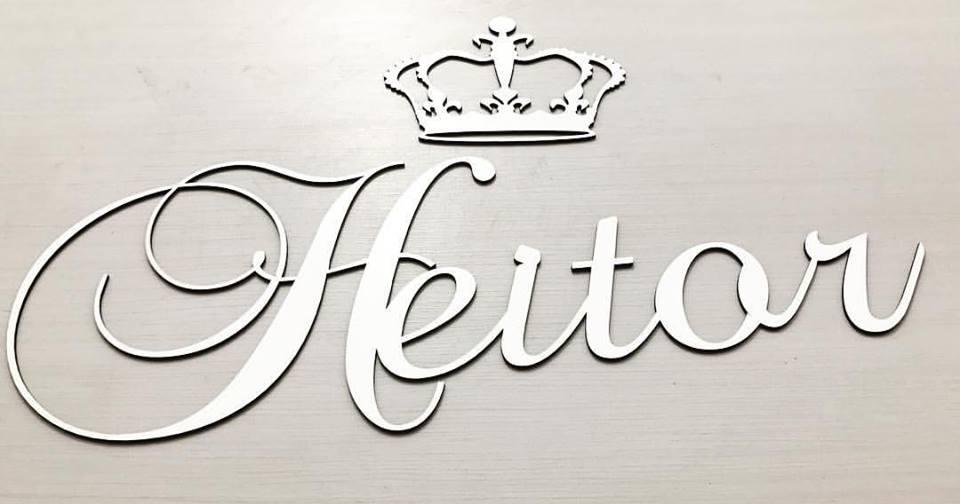 Nome Personalizado (Provençal) 60cm + Coroa 20cm MDF BRANCO