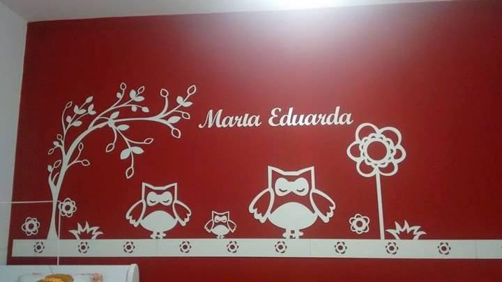 Painel de Parede Corujinha Feliz Personalizado MDF BRANCO