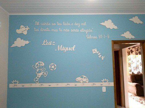 Painel de Parede Menino Brinquedos + Frase Salmos Completo