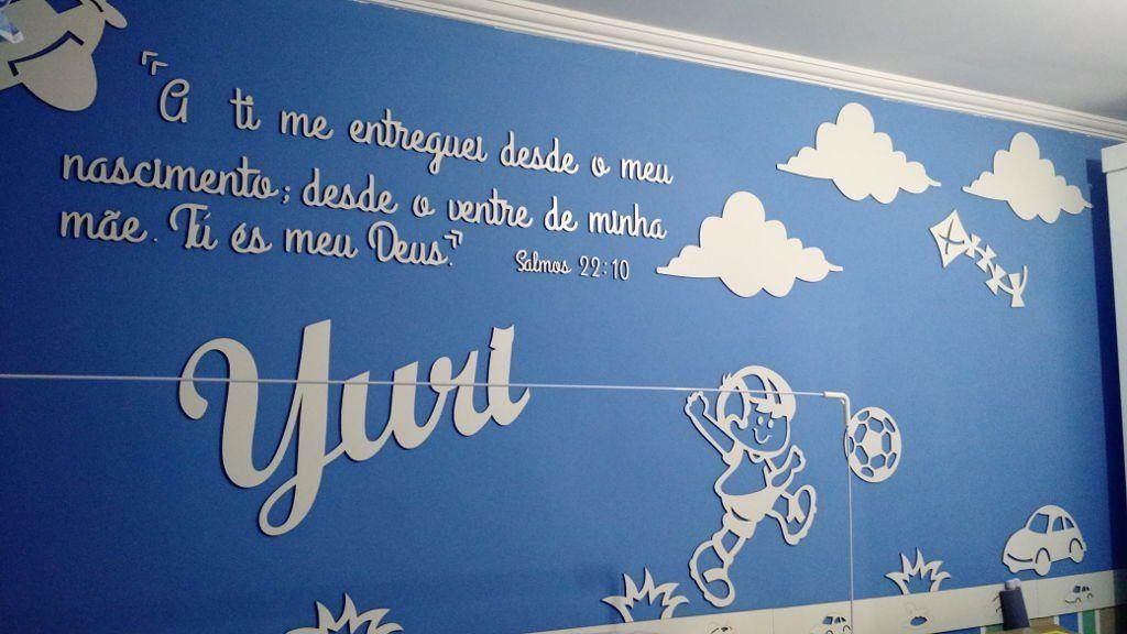 Painel de Parede Menino Brinquedos Frase Personalizada Completo MDF Cru
