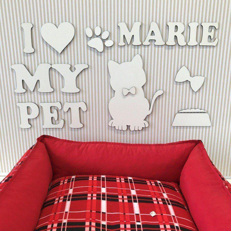 Painel Gatinho Fêmea I Love My Pet Personalizado mdf