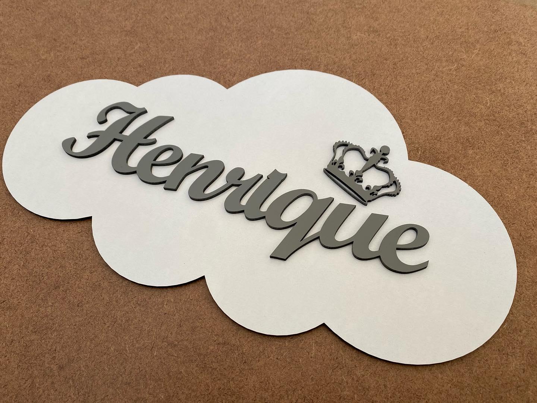 Placa de Porta Nuvem com Nome Personalizado 35cm