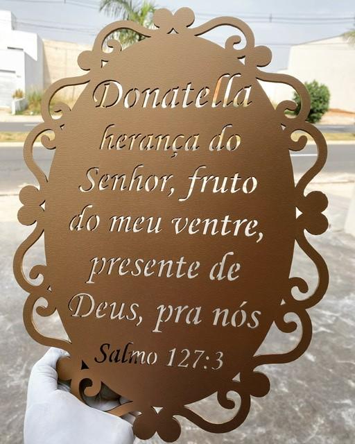 Placa decorativa 40cm Salmos 127:3 nome personalizado