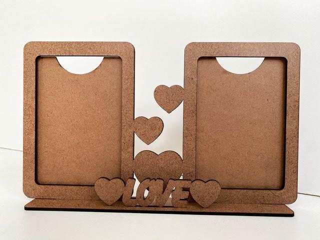 Porta Retrato Duplo - Love - MDF Cru