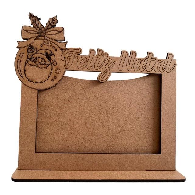 Porta Retrato Feliz Natal Papai Noel - MDF Cru