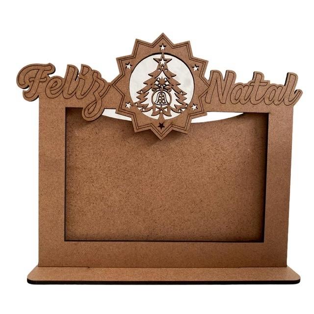 Porta Retrato Feliz Natal - MDF Cru
