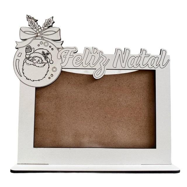 Porta Retrato Natal Papai Noel - MDF Branco