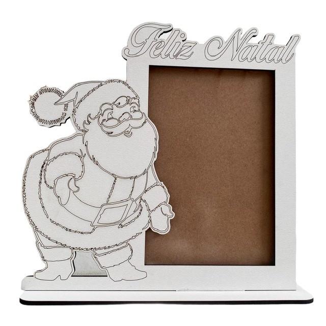 Porta Retrato Papai Noel Natal - MDF Branco