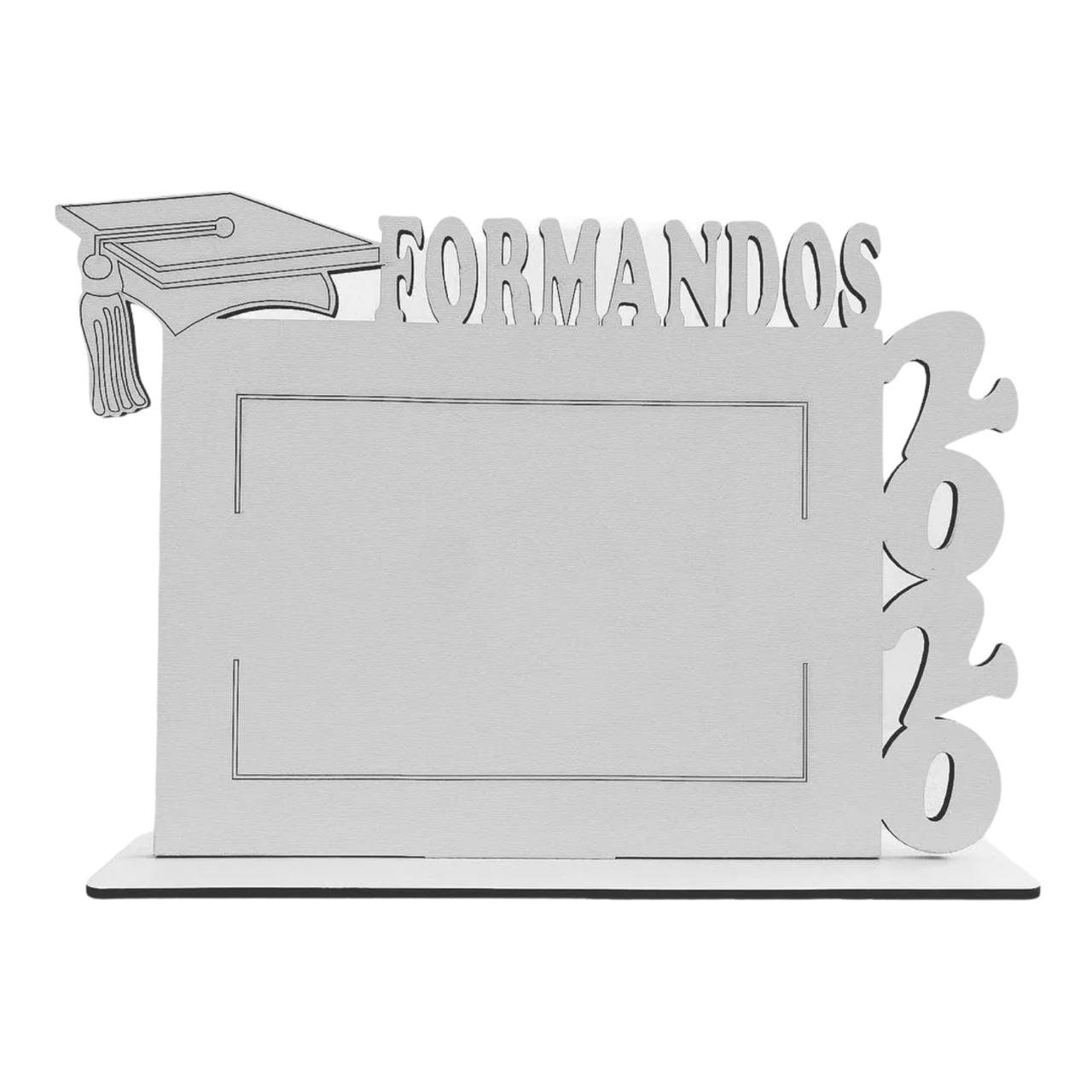 Porta Retrato Personalizado Formandos em MDF Branco Horizontal Formatura