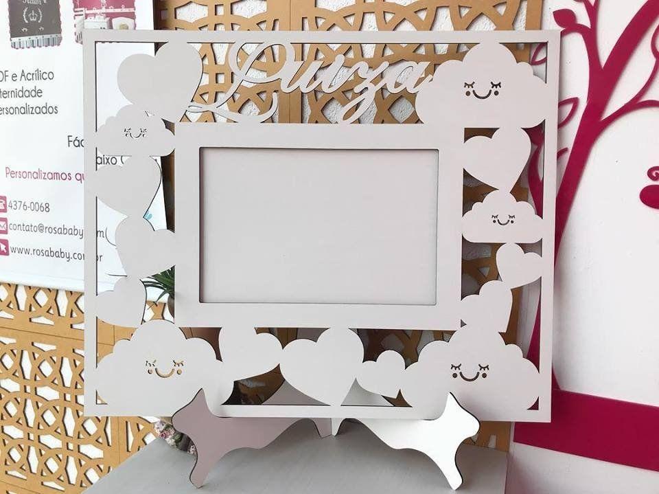 Porta Retrato Personalizado Grande Chuva de Amor Horizontal 15x21 em MDF Branco