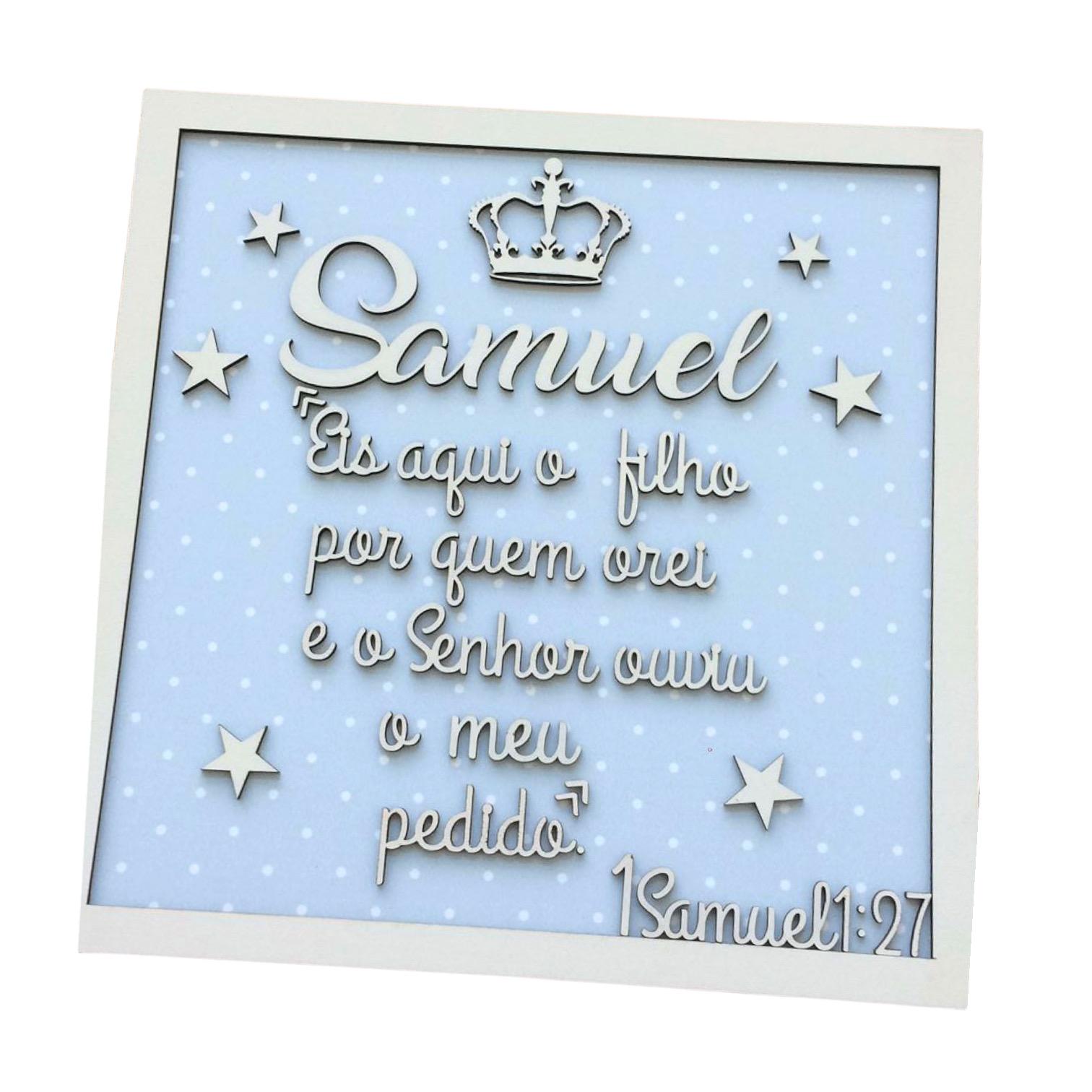 QUADRO PORTA MATERNIDADE FRASE BÍBLiCA 1 Samuel