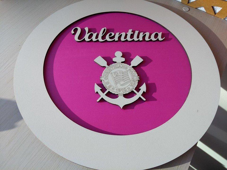 QUADRO PORTA MATERNIDADE REDONDO CORINTHIANS 30CM X 30CM