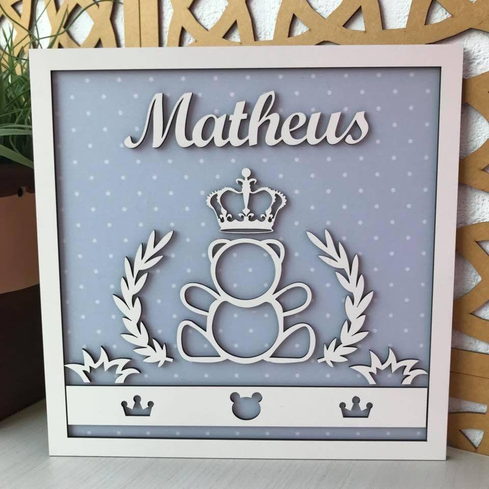 Quadro Porta Maternidade Urso Príncipe 30cm x 30cm