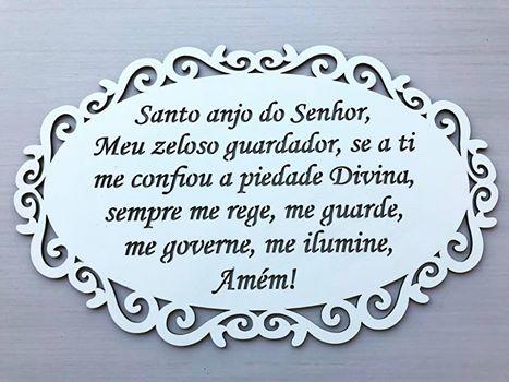 Quadro vazado Oração Santo Anjo