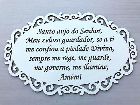 Quadro vazado Oração Santo Anjo Provençal