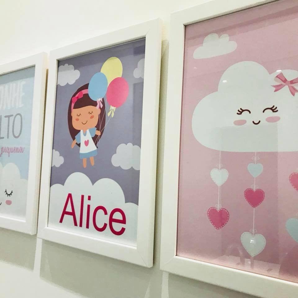 Ref. 001 - Kit Quadros Impressão Digital Personalizados Chuva de Amor Menina