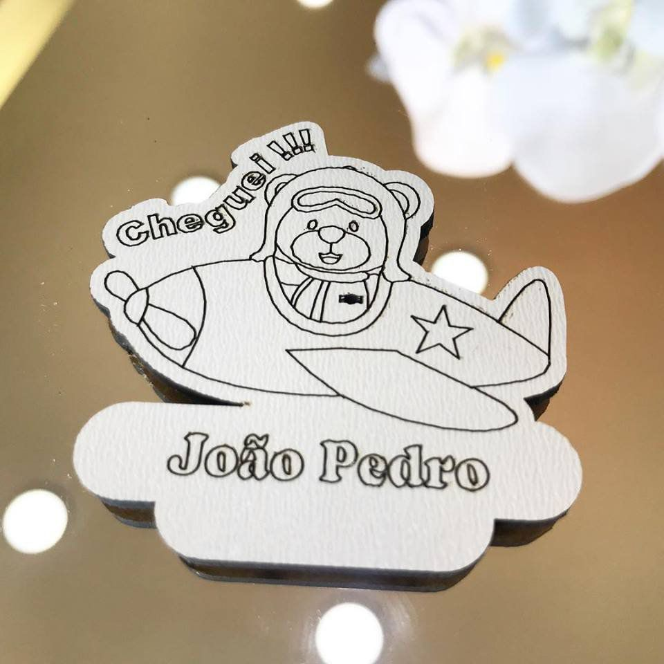 Ref. 018 - Ímãs de Geladeira Ursinho Aviador MDF Branco Lembrancinhas Nascimento Chá de Bebê