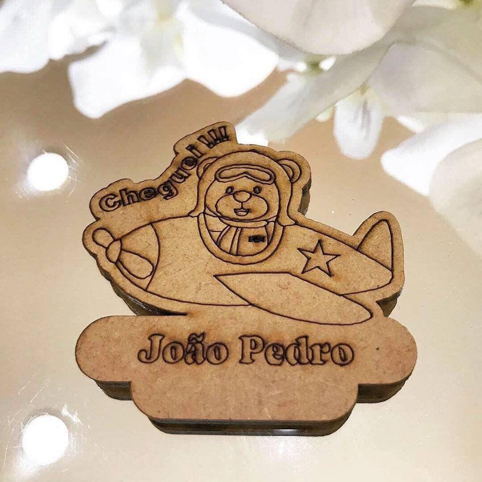 Ref. 018 - Ímãs de Geladeira Ursinho Aviador MDF Cru Lembrancinhas Nascimento Chá de Bebê