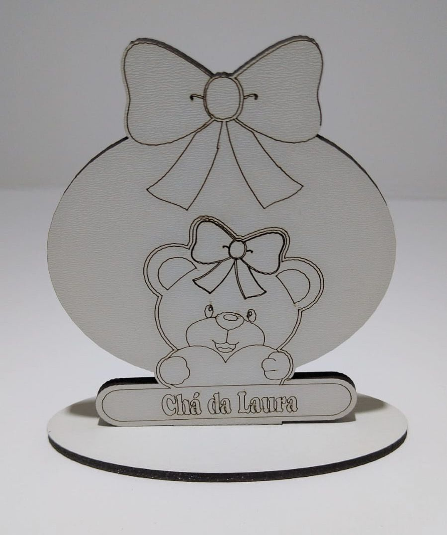 Ref. 006 - Lembrancinhas de Mesa tema Ursinha Princesa - MDF BRANCO
