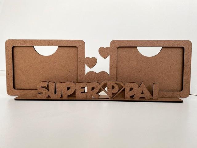 REF. 007- Porta Retrato Dia dos Pais Duplo Horizontal - Superpai - MDF Cru