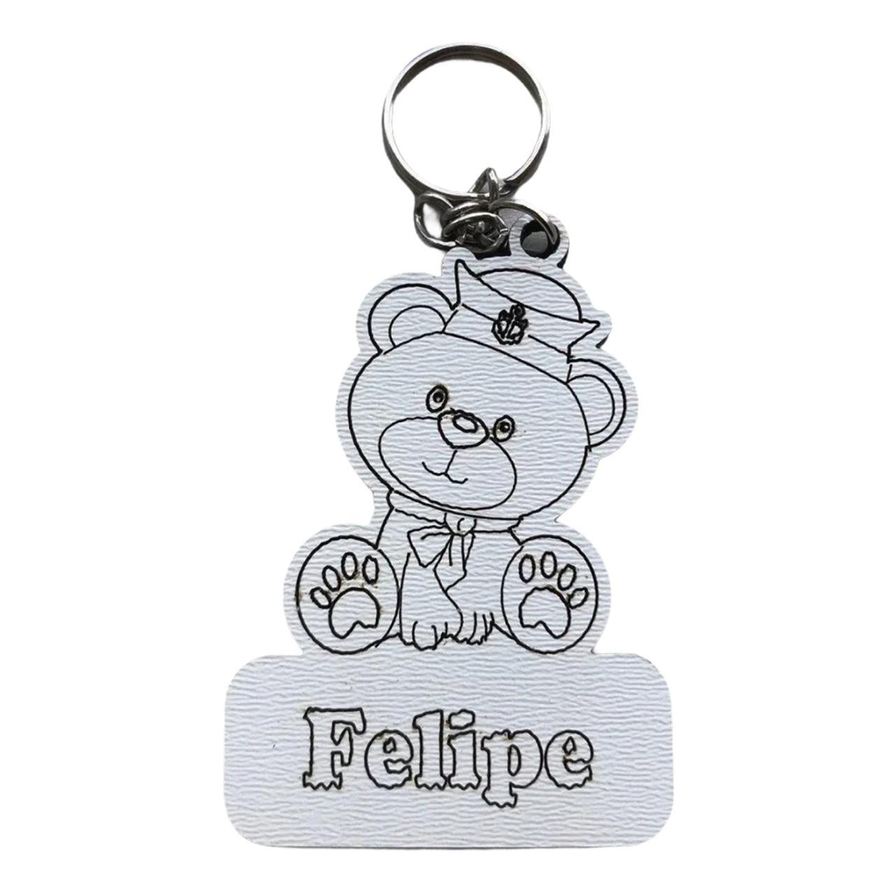 REF. 008 - Chaveiro Baby Ursinho Marinheiro Personalizado MDF Laminado