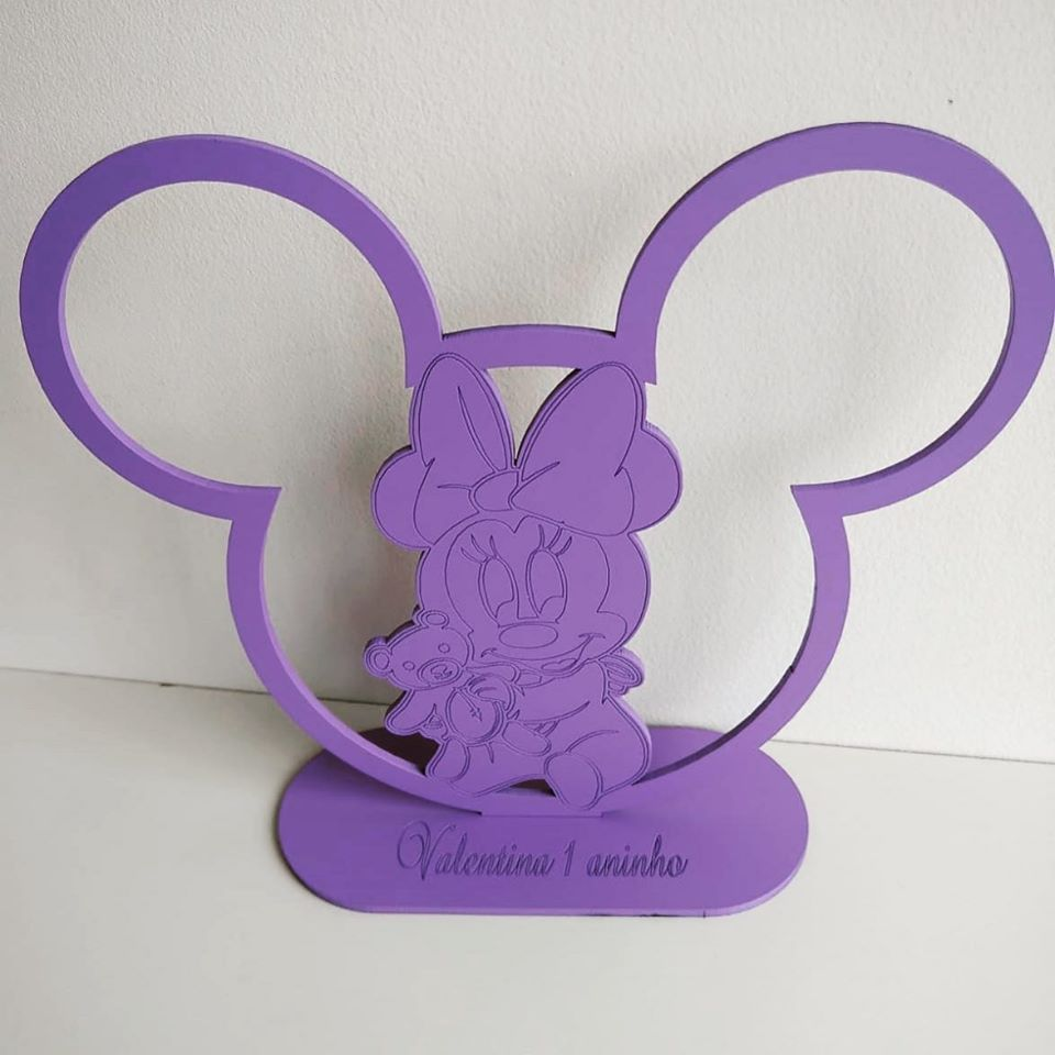 REF. 008 - Kit Centros de Mesa 20cm Minnie Baby MDF LILÁS