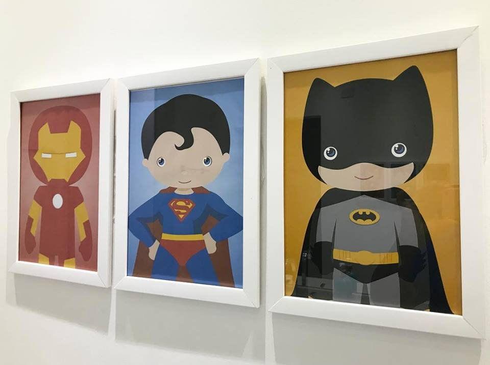Ref. 009 - Kit Quadros Impressão Digital Heróis Baby