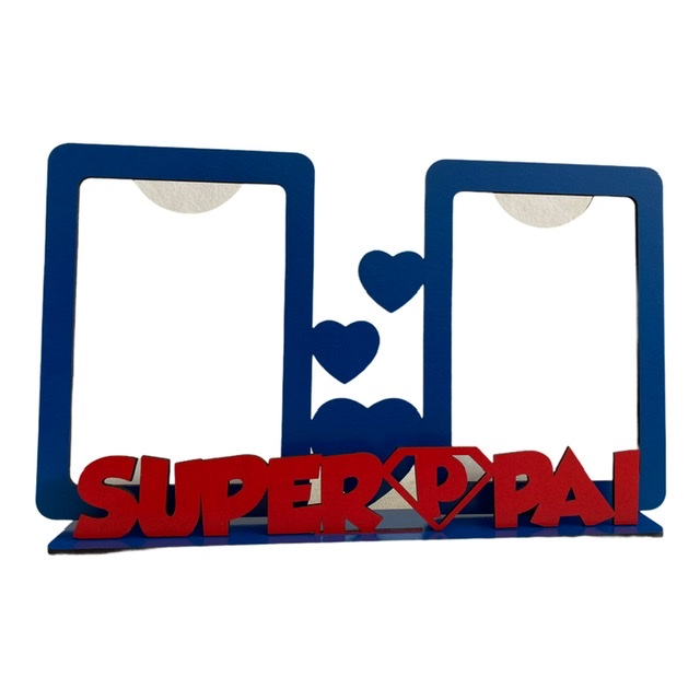 REF. 009 - Porta Retrato Dia dos Pais - Duplo Vertical - SuperPai - MDF Laminado