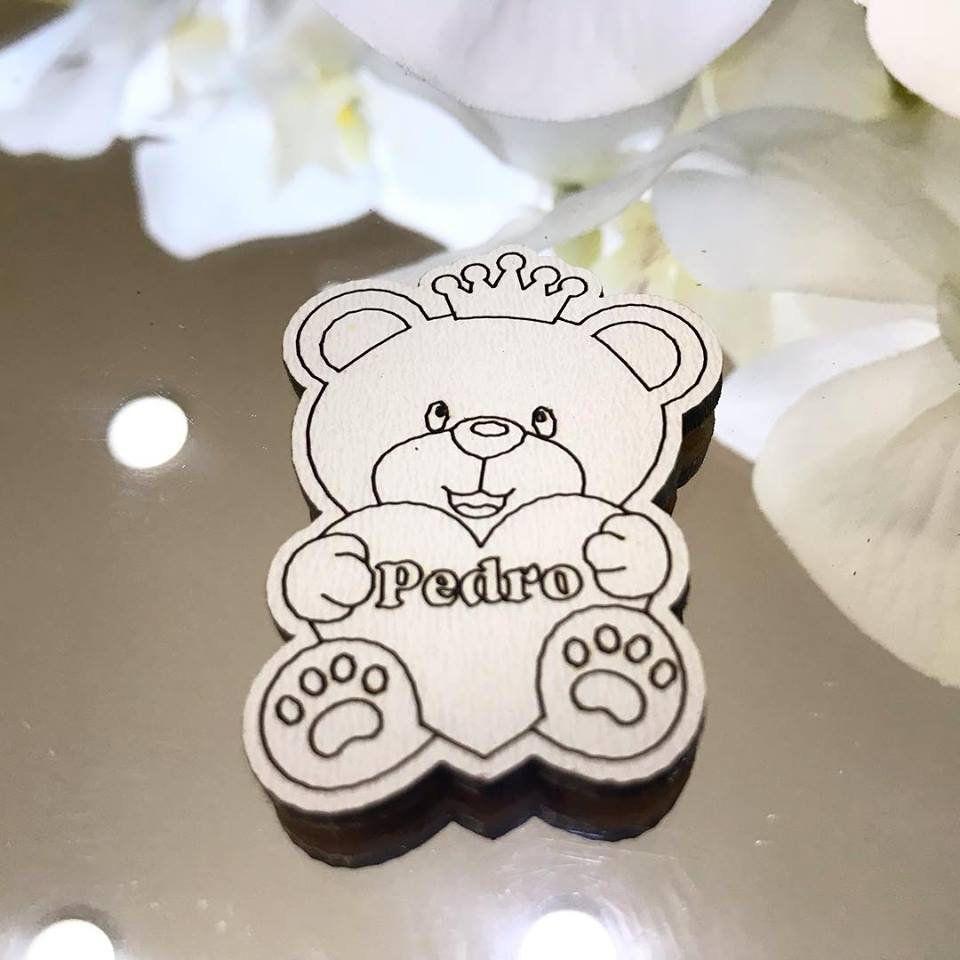 Ref. 001 - Ímãs de Geladeira Ursinho Príncipe MDF Branco Lembrancinhas Nascimento Chá de Bebê01