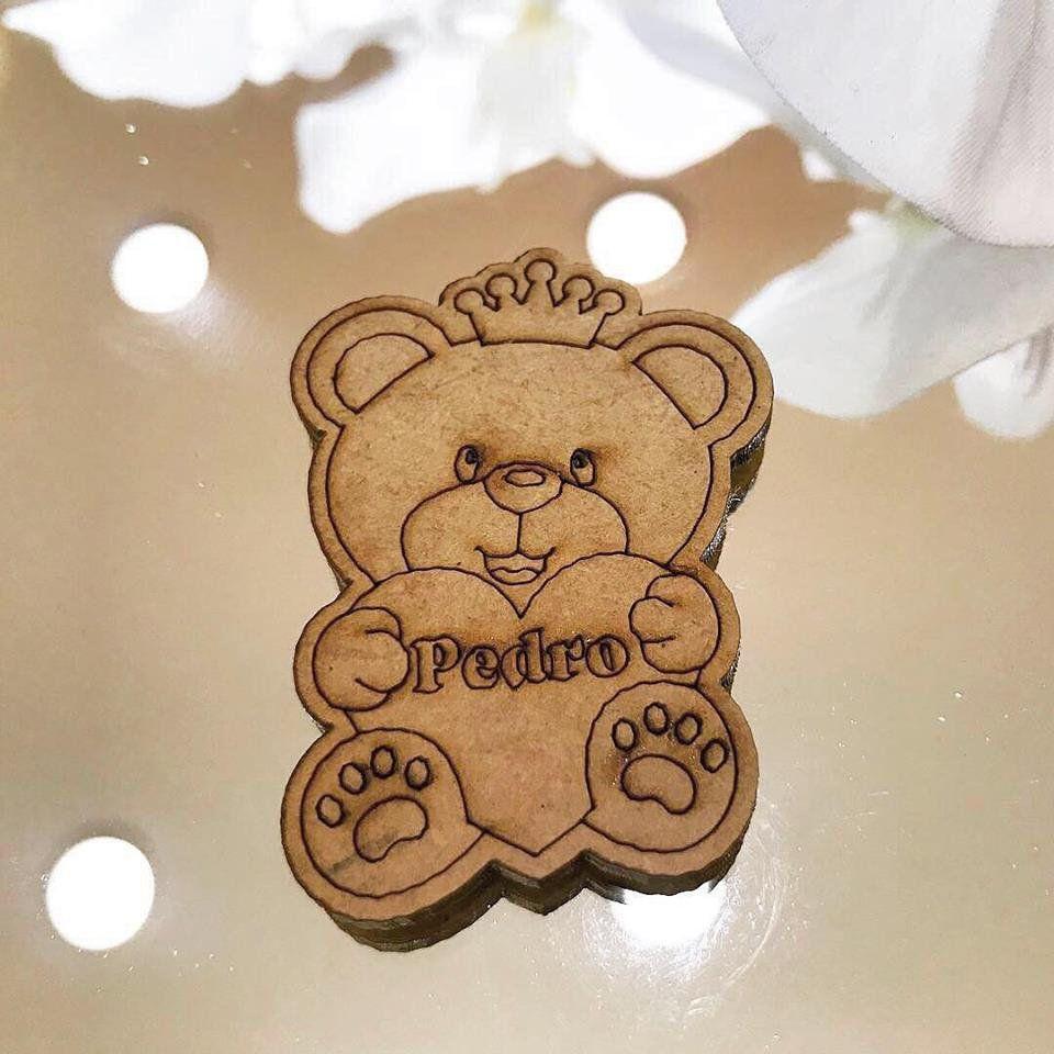 Ref. 001 - Ímãs de Geladeira Ursinho Príncipe MDF Cru Lembrancinhas Nascimento Chá de Bebê