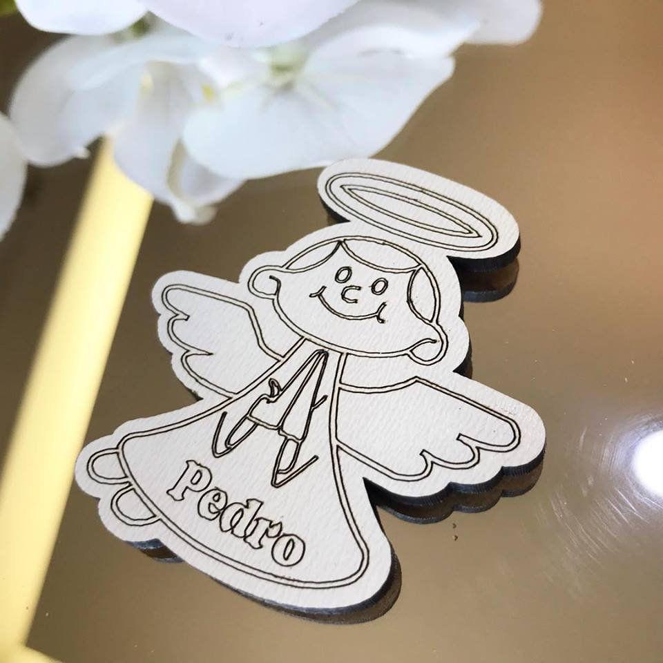 Ref. 030 - Ímãs de Geladeira Anjo MDF Branco Lembrancinhas Nascimento Chá de Bebê