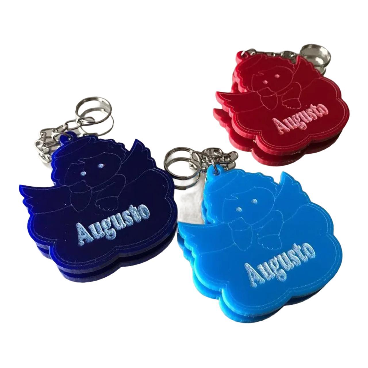 REF. 031 - Chaveiro Anjo Anjinho novo Acrílico Gravado Nome Personalizado Cores