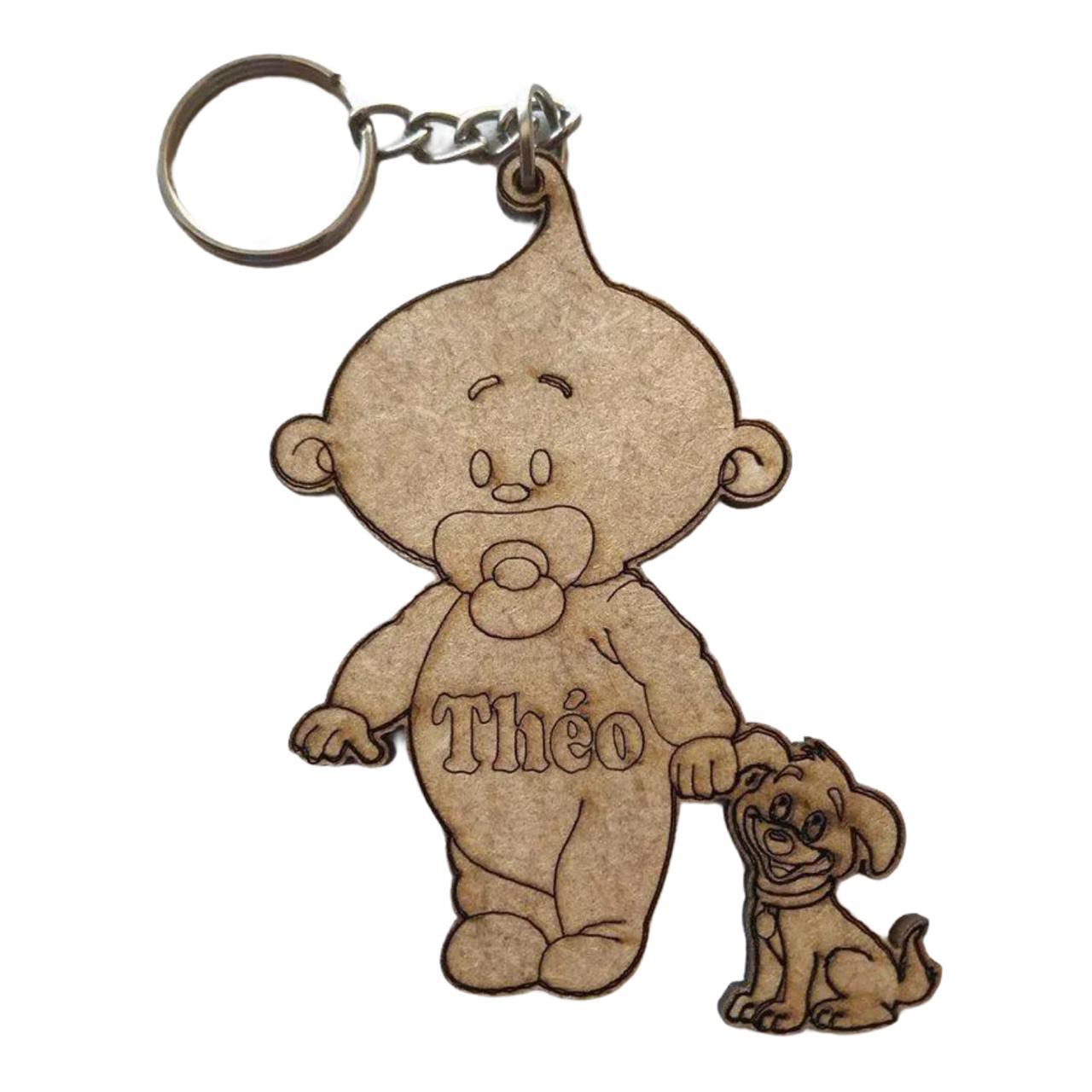 REF. 041 - Chaveiro Bebê com cachorrinho personalizado MDF Cru