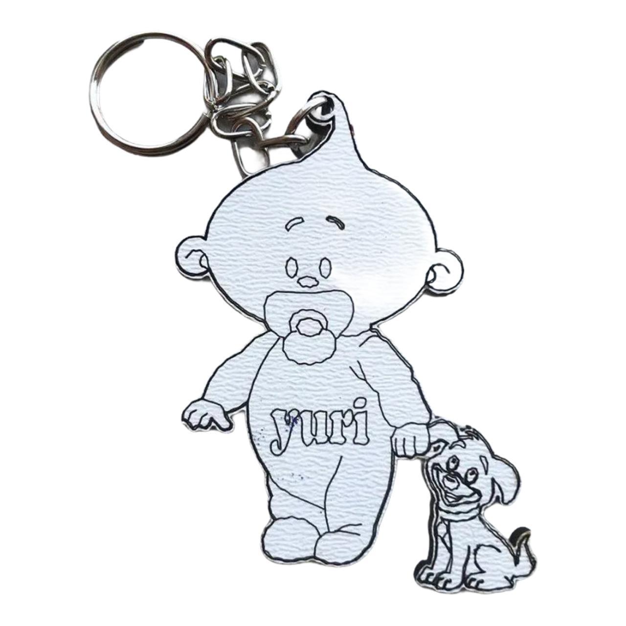 REF. 041 - Chaveiro Menino com Cachorrinho Personalizado MDF Branco